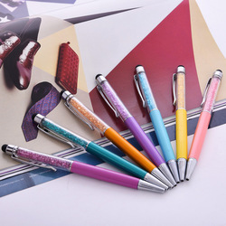 100pcs/lot High Quality Cute Crystal pen Diamond ballpoint pens Stationery ballpen 2 in 1 crystal stylus pen touch pen
