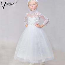 Vnaix DF229 Высокий Воротник Платья с цветочным узором для девочек Детские платья из тюля с длинными рукавами платья для первого причастия для девочек