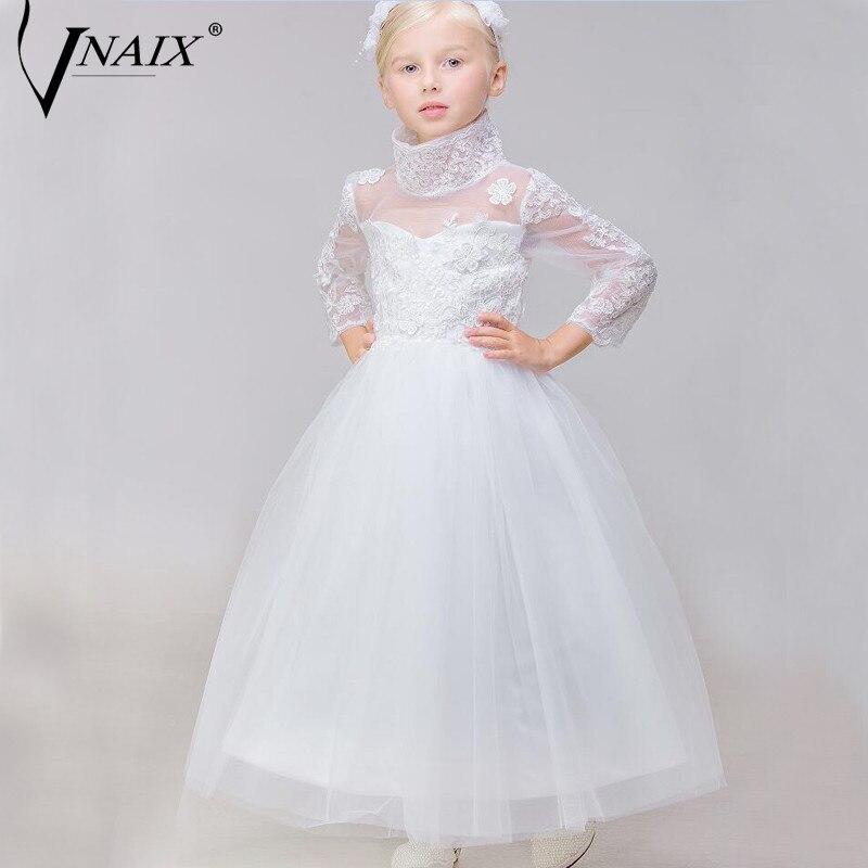 Vnaix DF229 High Neck Appliques   Flower     Girl     Dresses   Long Sleeve Tulle Kids   Dresses   First Communion   Dresses   For   Girls