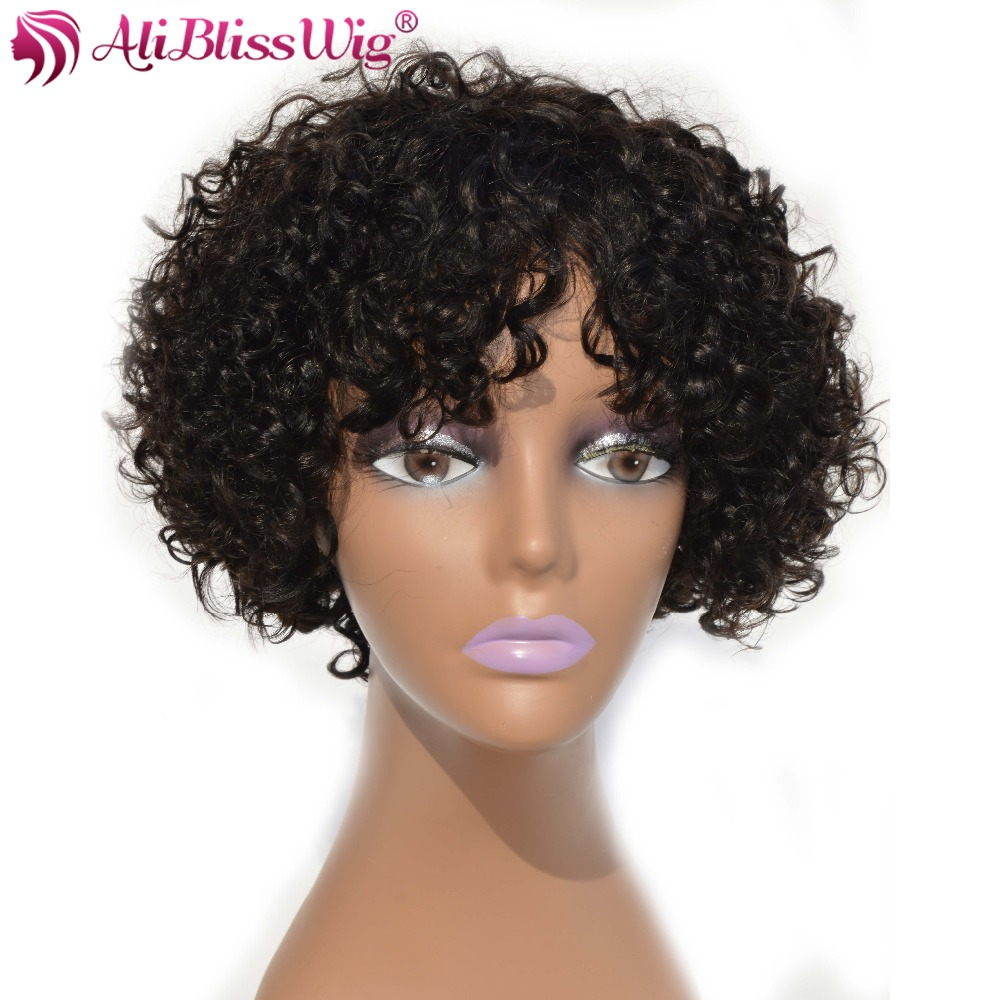 AliBlissWig Curly Short Wigs For Black Women #1B Color Brazilian Non-Remy Hair None Lace Human Hair Wigs Medium Cap Machine Made (2)