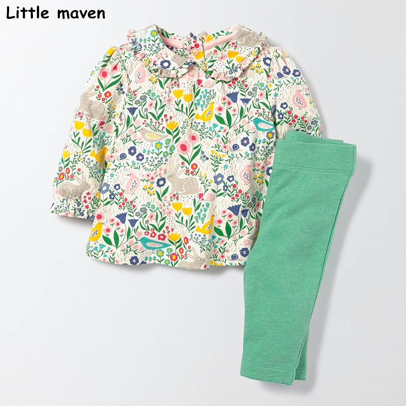 Little maven children's set 2017 new autumn girls Cotton brand long sleeve Plant floral t shirt + solid green pants 20141 2017 little maven 1 6 years baby girls set quality brand short sleeve t shirt shorts 100% cotton kids summer clothes set kf175