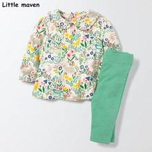 Peu maven enfants ensemble 2017 nouveau automne filles Coton de marque à manches longues Usine floral t-shirt + solide vert pantalon 20141
