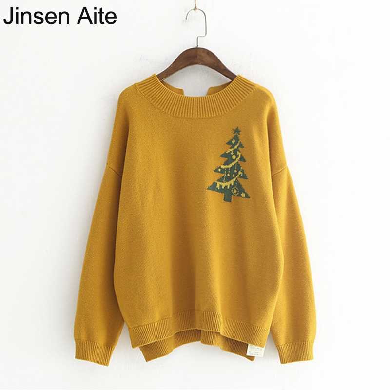 Jinsen Aite New Winter Style Womens Christmas Tree Sweater Fashion Sweet Bow O-Neck Tops Casual Pullover Knitted Sweater JS66