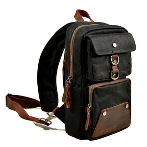 Image 2 - Muchuan 6030# Mens outdoor sports chest bag shoulder bag waterproof oil wax canvas bag for life Accessories and 8 inch laptop