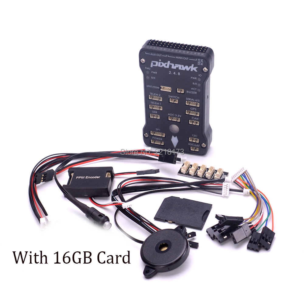 Pixhawk PX4 Autopilot PIX 2.4.8 32 Bit Flight Controller with Safety Switch and Buzzer / 16GB Card / PPM / I2C for S500 F450 new pixracer r14 autopilot xracer px4 flight control mini pixracer r14 autopilot ppm sbus dsm2