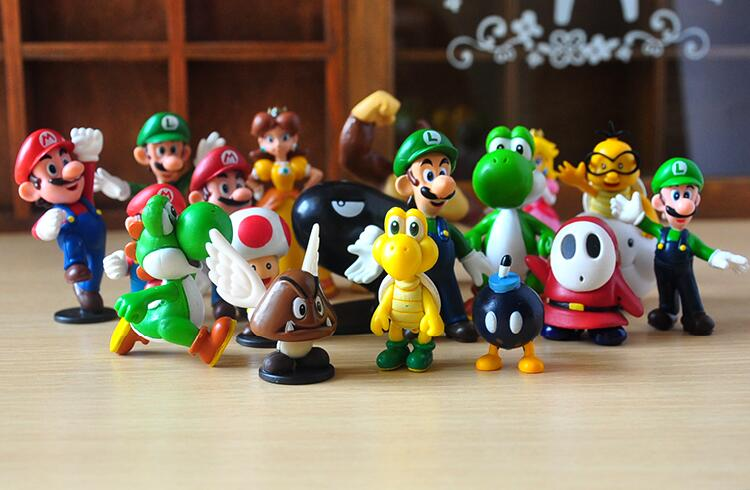18PCS/Lot Super Mario Bros PVC Mini Figure Toys Wario Luigi Donkey Kong Peach Bowser Yoshi Minifigures Boo Waluigi Toad Daisy