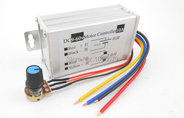 EBOWAN 10A 600W DC PWM Motor Speed Controller Regulator Switch 9v 12v 24v 36v 48v 60v image