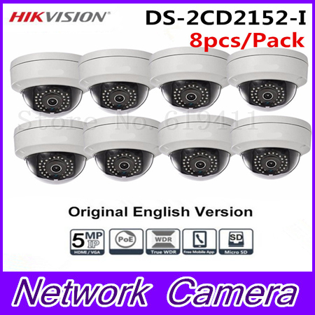8Pcs HiK English Version 5MP CCTV Camera DS-2CD2152F-I Full HD PoE Dome Camera With On-board storage Replace DS-2CD2155F-IS