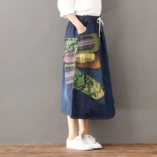 cbda42e571 Bohemian Pleated Falda vaquera mujer Tule rok Jeans Suspenders Gingham  Skort Suede Gonna Floral Jupe Rok Psychedelic Women Skirt