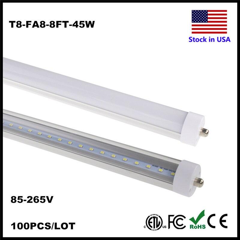 Us 1102 2 40 Off 2 4m 8ft Fa8 Single Pin T8 Tube Fluorescent Led Light Tube 8 Ft 8feet 8 Foot 45w Repalcement Lamp Smd2835 Led Tube Light In Led