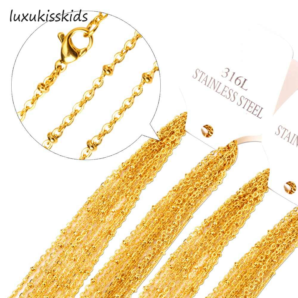 LUXUKISSKIDS 10pcs/lot Gold/Silver Wholesale Necklaces Bead Chains 45-60cm Length 2mm Width Lobster Clasp Chain Jewelry