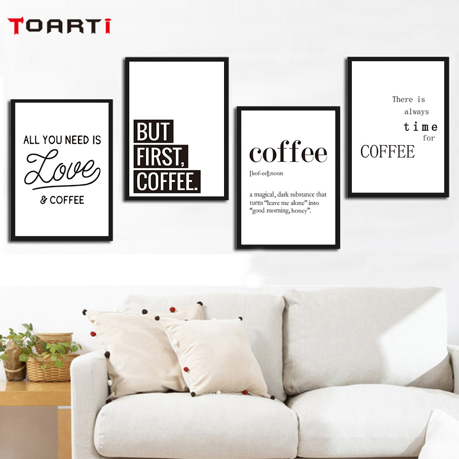 Creative Coffee Life Quote Wall Art Black&White Prints Canvas Painting Nordic Modern Vintage Poster Living Room Home Decor Mural (4)