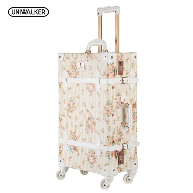 "20"" - 26"" Women Retro Floral PU Leather Travel Suitcase Apply To 20"" - 26"" , Girl Vintage Trolley Luggage On Universal Wheels"