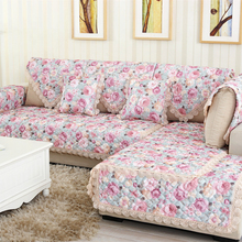 3D Flower Pattern Sofa Cover Towel Slipcover Plush Fabric Thick Modern Non-slip Couch Corner Mats 1PCS