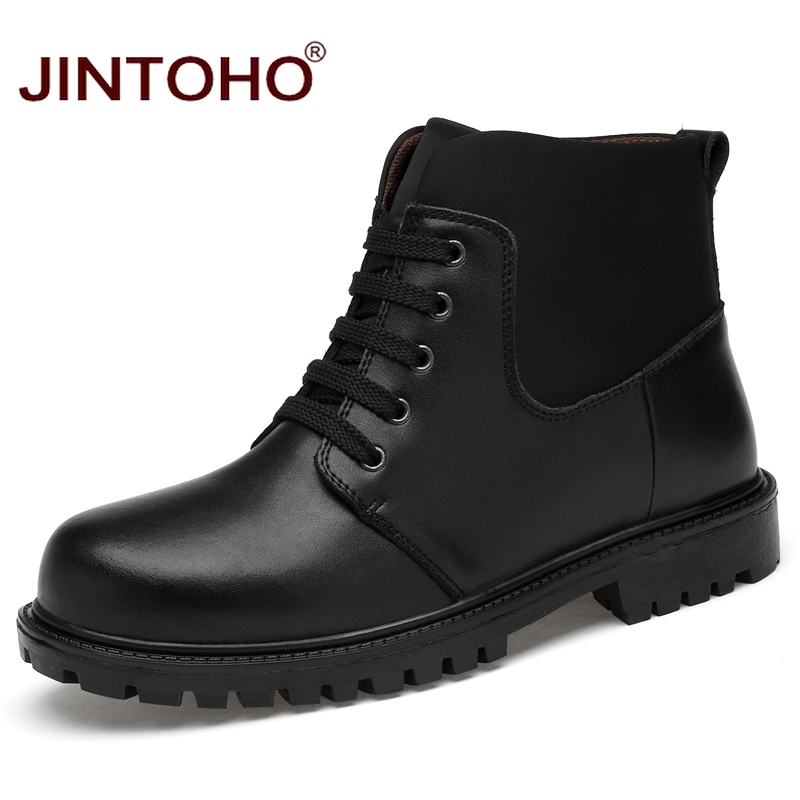 JINTOHO High Quality Genuine Leather Men Winter Boots Fashion Black Ankle Boots Brand Men Leather Boots Rubber Male Boots Shoes 2016 fashion warm genuine leather boots comfortable men winter boots quality ankle boots men winter shoes brand men s boots ok page 1