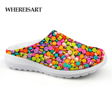 WHEREISART Fashion Candy Color Print Summer Sandals for Women Casual Slip-on Flats House Ladies Slippers Woman Womens