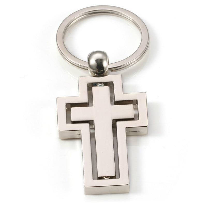 Kereszt kulcstartó fém férfiak nők forgatható medál kulcstartó gyűrű fedél tartó Jézus Portachiavi Brelok csecsebecsék Llaveros Chaveiro