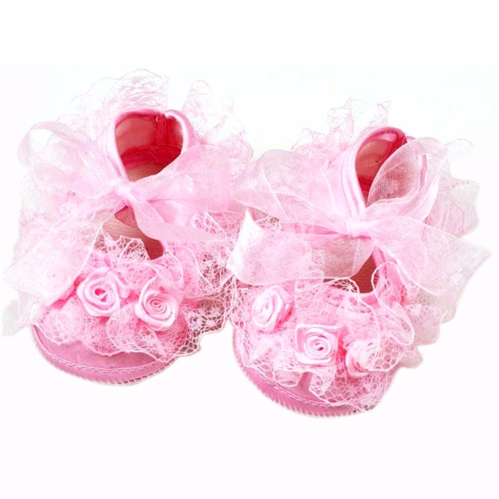 Cute Sweet Toddler Baby Lace Shoes Infant Girl Non-Slip Princess Shoes Prewalker Shoes