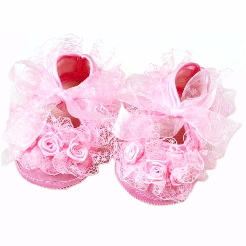 Cute Sweet Toddler Baby Lace Shoes Infant Girl Non-Slip Princess Shoes Prewalker Shoes