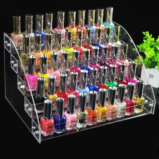 5 TiersLayer New Clear Acrylic Plastic Nail Polish Rack Lipstick Organizer Storage Display Shelf Nail Polish