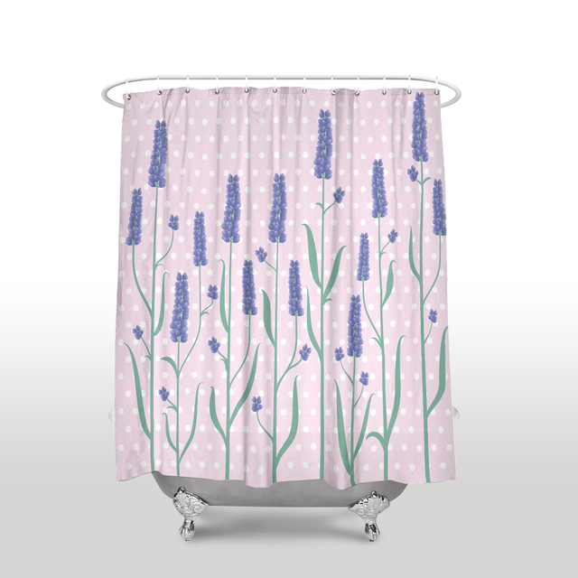 Lavender Pattern Love Shower Curtain Waterproof Polyester Fabric Flower Bathroom Decor Printed Purple Green Pink