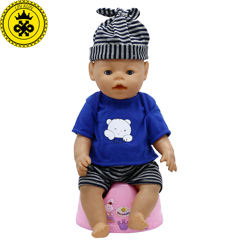 LIN KUN Baby Born Doll Clothes Cute T-shirt + Shorts + Hat Suit Fit 43cm Zapf Baby Born 16-18 inch Doll Accessories  T-11 longran lotus 945 t lin 945x510