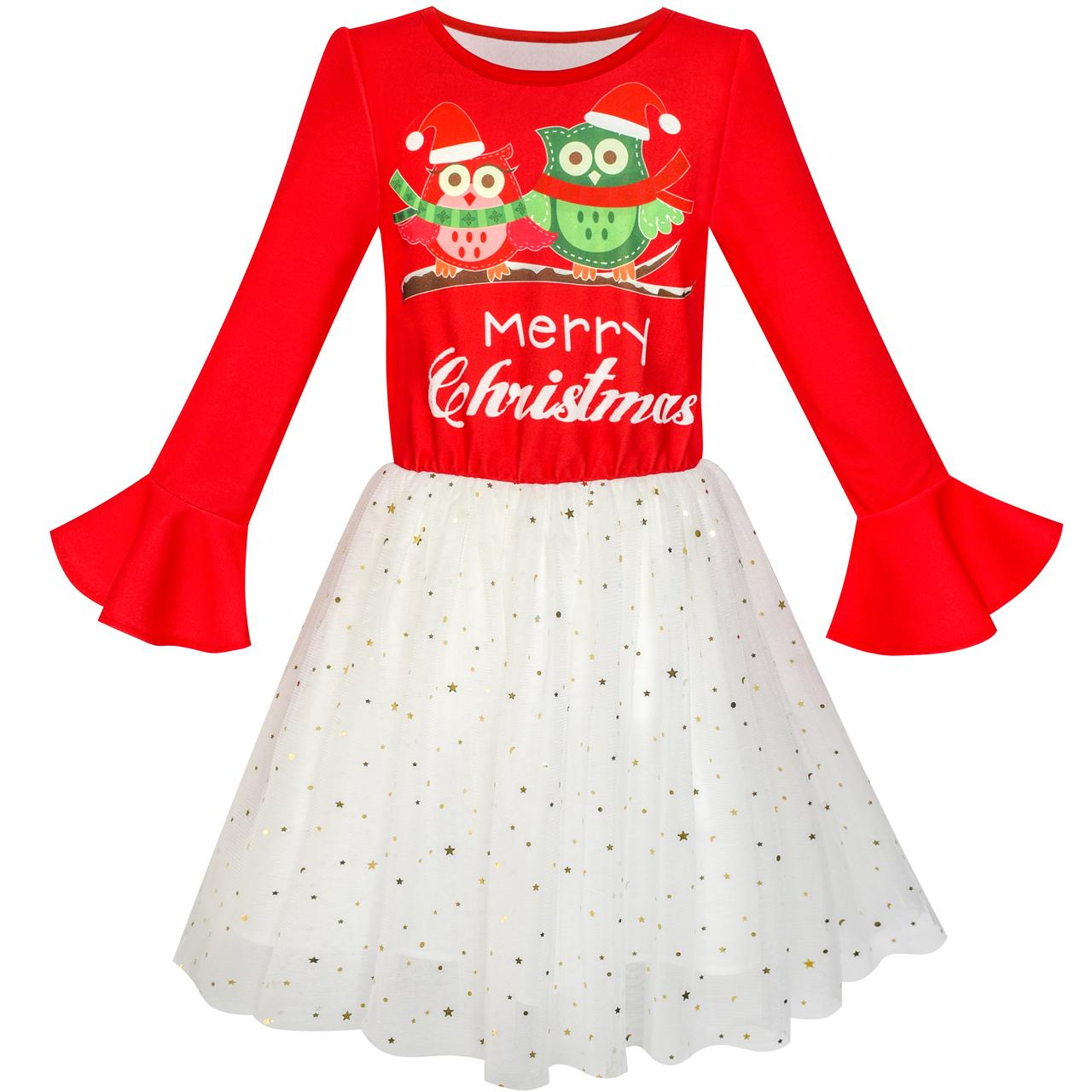 Girls Dress Long Sleeve Christmas Owl Sparkling Sequin Tulle 2018 Summer Princess Wedding Party Dresses Size 5-12Girls Dress Long Sleeve Christmas Owl Sparkling Sequin Tulle 2018 Summer Princess Wedding Party Dresses Size 5-12