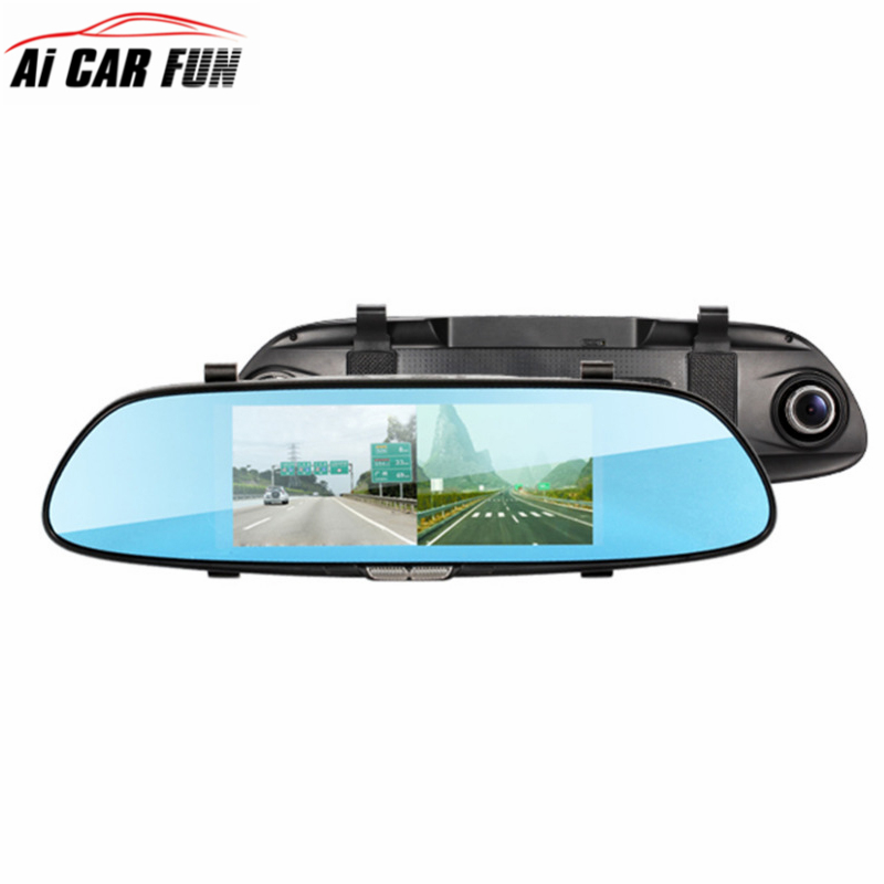 6.5 Car DVR Rearview Mirror Dash Cam FHD 720P Video Recorder Dual Lens Parking monitor auto dvrs Rearview Mirror 5V 1.5A 5 inch car camera dvr dual lens rearview mirror video recorder fhd 1080p automobile dvr mirror dash cam