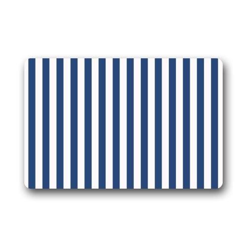 Door Mat Navy <font><b>Blue</b></font> and White Vertical Stripe Pattern Doormat Rug Indoor/Outdoor/Front Door/<font><b>Bathroom</b></font> Mats Floor Mat