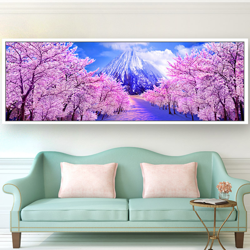 DIY 5D Sale Diamond Embroidery, Diamond Mosaic, Big Pink Romantic Sakura Painting, Full, Diamond Painting, Cross Stitch,3D, Deco