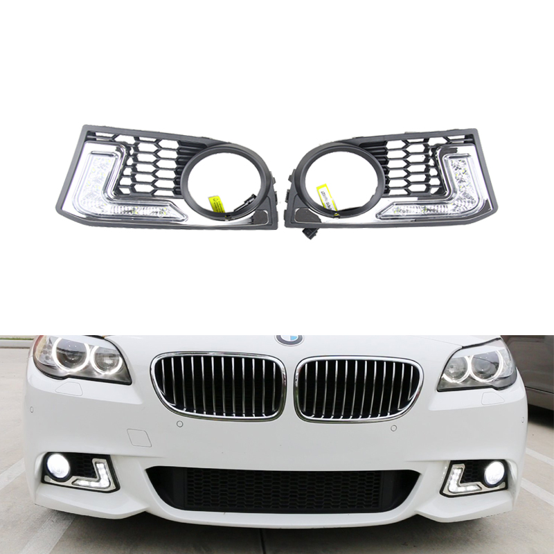 Xenon White 12W High Power LED Daytime Running Lights Kit For BMW F10 M-Tech 6 LEDs Driving Light DRL Fog Lamp with relay oem fit 10w high power 5 led daytime running lights drl kit for bmw 3 series e90 e91 2005 2008 driving light led fog light lamp
