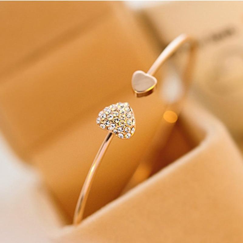 2020 Hot New Fashion regolabile cristallo doppio cuore fiocco Bilezik polsino apertura braccialetto per le donne gioielli regalo Mujer Pulseras 7g 1