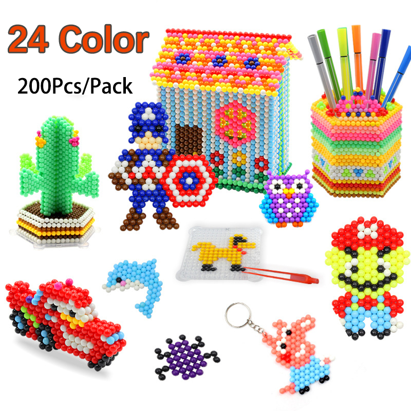24 Color 200Pcs 5mm Water Spray Perlen Magic Beads Children 3D Puzzle Toys Water Spray Beads Educational Kids Hama Beads Toys