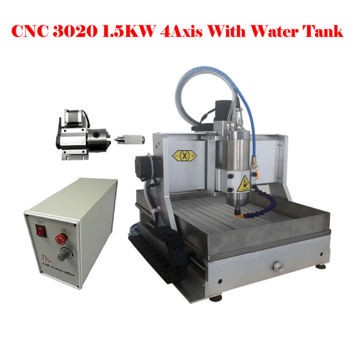 Best quality 3020 cnc engraver 1500w 4 axis USB cutting machine for metal jade wood with water tank cnc 5axis a aixs rotary axis t chuck type for cnc router cnc milling machine best quality