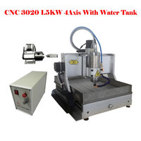 Best quality 3020 cnc engraver 1500w 4 axis USB cutting machine for metal jade wood with water tank