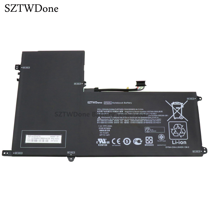 SZTWDONE Original AT02XL tablet battery for HP ElitePad 900 G1 HSTNN-C75C HSTNN-IB3U HSTNN-DB3U 685368-1C1 685987-001 AT02025XL планшет hp elitepad 1000 10 1 64gb