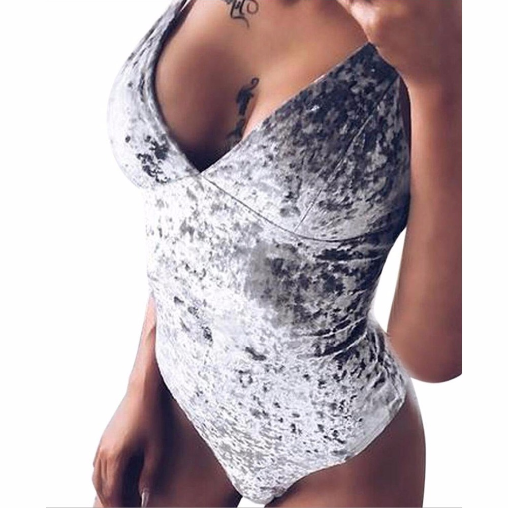 Fashion Velvet   Jumpsuit   Feminino Sexy Body Top Bodycon Women Bodysuits V-neck Playsuit Rompers Overall Club Warm Plus Size GV032
