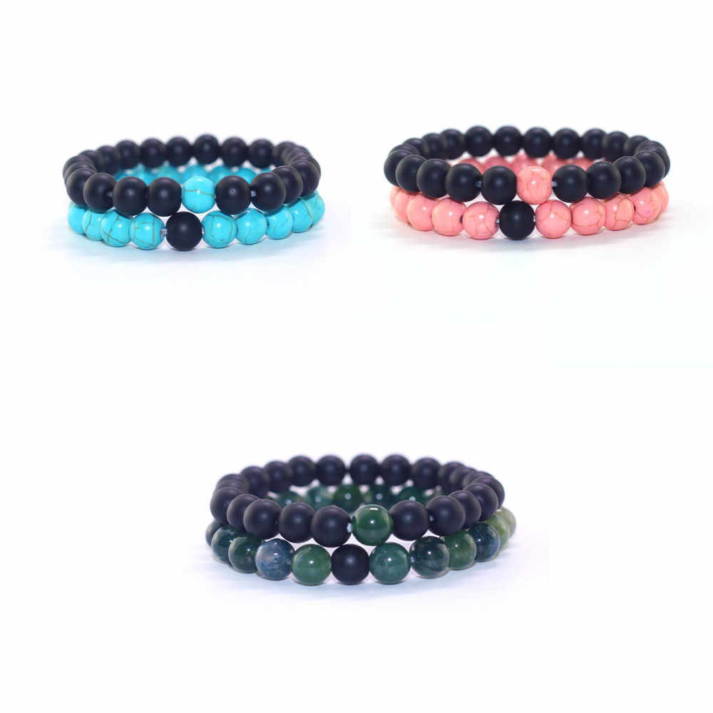 2 Pcs/set Fashion Couple 8mm Matte Stone Bracelets Bangles Classic Black Blue Natural Lava Stones Charm Bead Bracelet Women Men