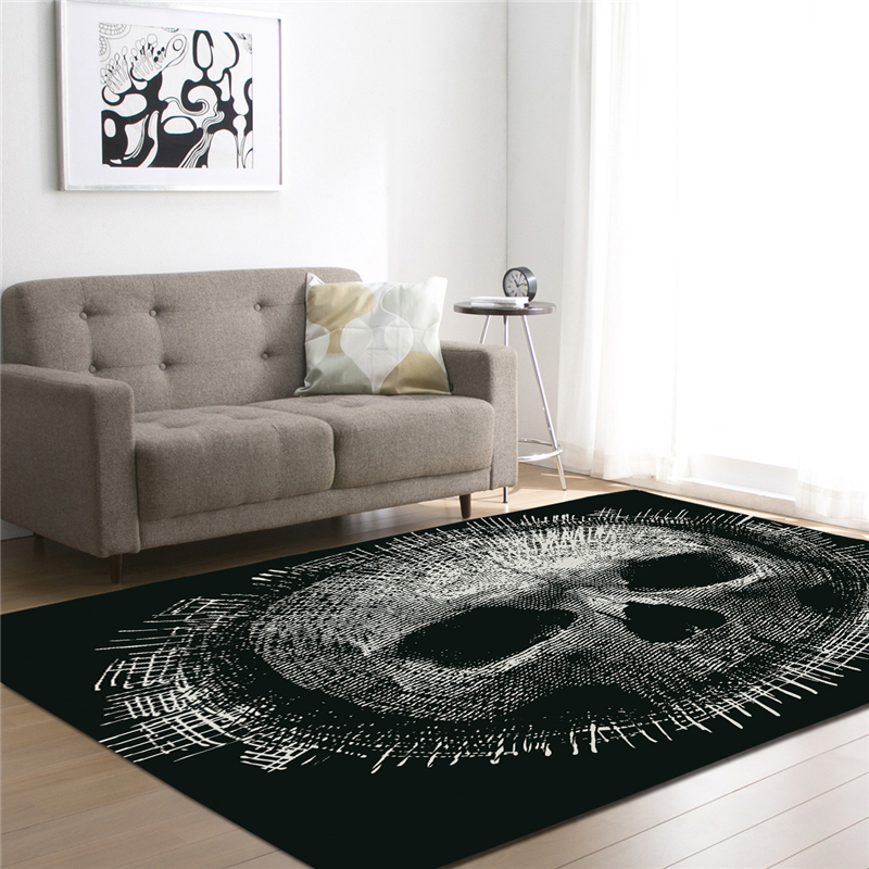 3D Sugar Skull Printed Black Carpets for Living Room Bedding Room Large Rectangle Area Mats Modern Outdoor Floor Rugs Home Decor