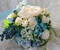 Bouquet Vintage Artificiel Mariage Boda Flores Ramos Nupciales Azules Playa Artificial Broche Ramos de Novia De Mariage 2016