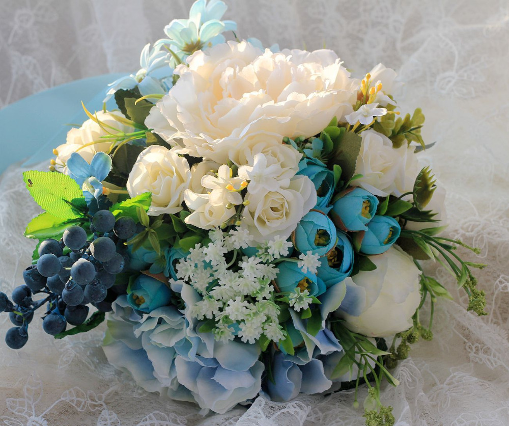 vintage bouquet artificiel mariage wedding flowers blue bridal bouquets artificial beach brooch. Black Bedroom Furniture Sets. Home Design Ideas