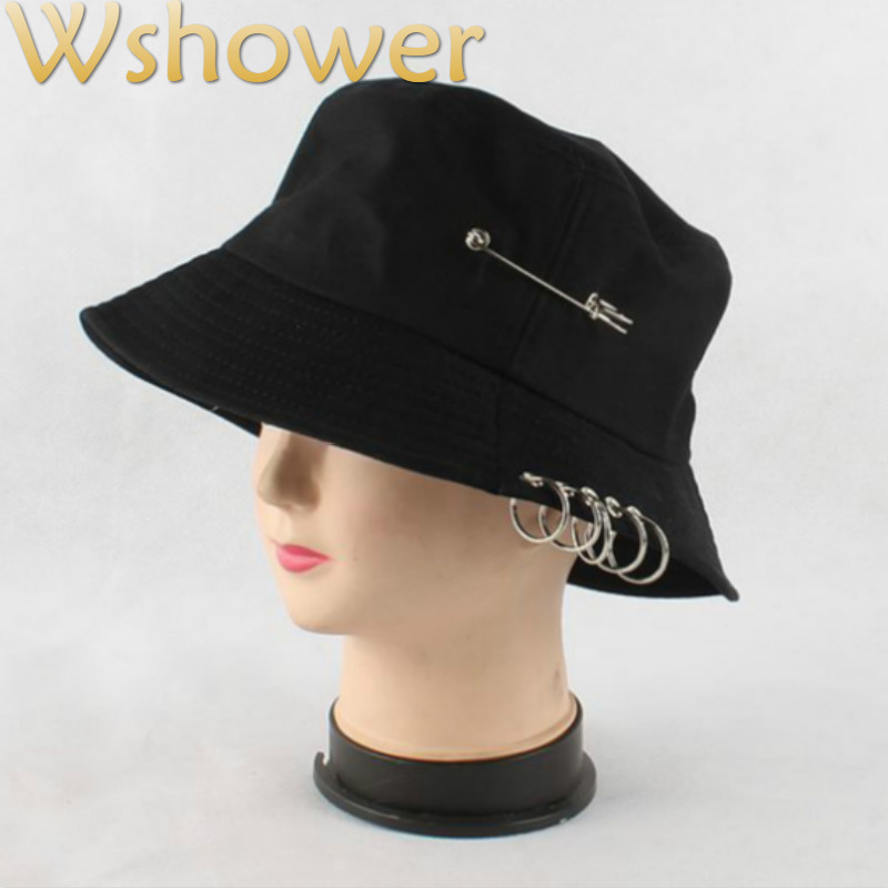 Which in shower White Pink Black Cotton Bucket Hat Hip Hop With Pin Casual  Plain Summer Panama Outdoor Fishing Cap Male Female 7215e98386a