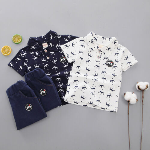 >Toddler Kids Boys Clothes Small Crown <font><b>Blouse</b></font> <font><b>Shorts</b></font> <font><b>Pants</b></font> Print White Blue T-shirt Jeans Outfit Set Summer Fashion Casual1-5Y