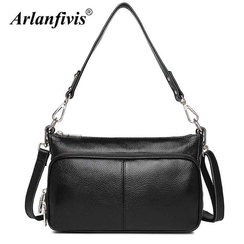 Arlanfivis Genuine Leather Handbags For Women Large Capacity Female Crossbody Bags bolsa feminina Cowhide Cowhide Zipper Purses arlanfivis genuine leather new designer 2018 fashion woman bag cowhide large capacity female handbag wide strap crossbody bags