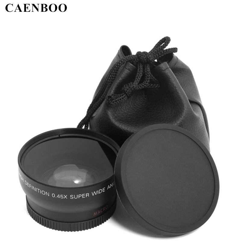 CAENBOO 0.45x55mm 58mm 0.43X 62 67 72 Wide Angle Macro Lens Wide-Angle Camera Lens For Canon EOS Nikon For Sony Lens Accessories стоимость