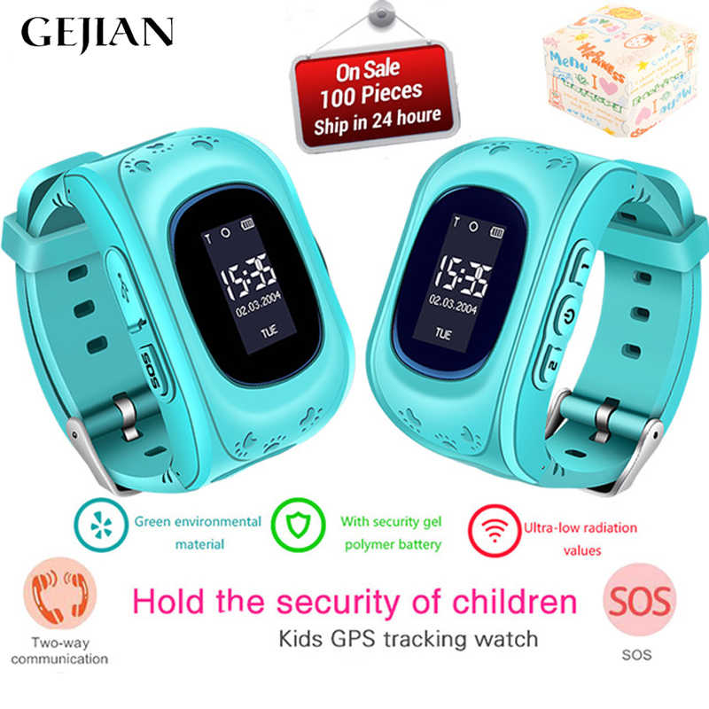 GEJIAN Children's Watch GPS Tracker SOS Call Help Monitor Positioning Mobile Phone Child GPS baby Watch Compatible IOS Android