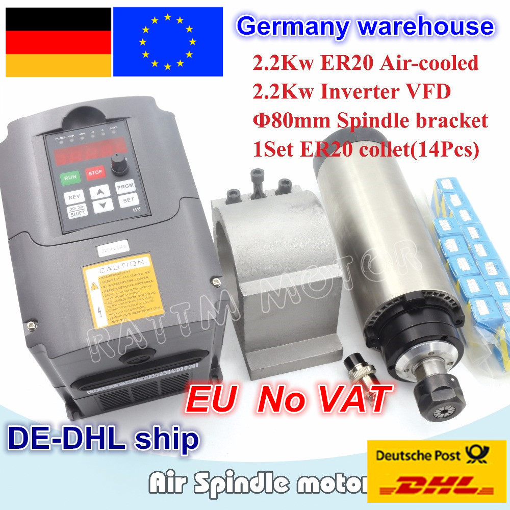 2.2KW Air Cooled Spindle Motor ER20 4 Bearings & 2.2kw Inverter VFD 3HP 220V & 80mm Aluminium Clamp + 1 Set ER20 Collet (14pcs)