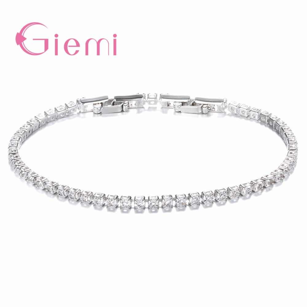 New Hot Simple Style 925 Sterling Silver Bracelet with AAA Zircon Crystal Femme Lovers Link Chain Jewelry Bangles for Women