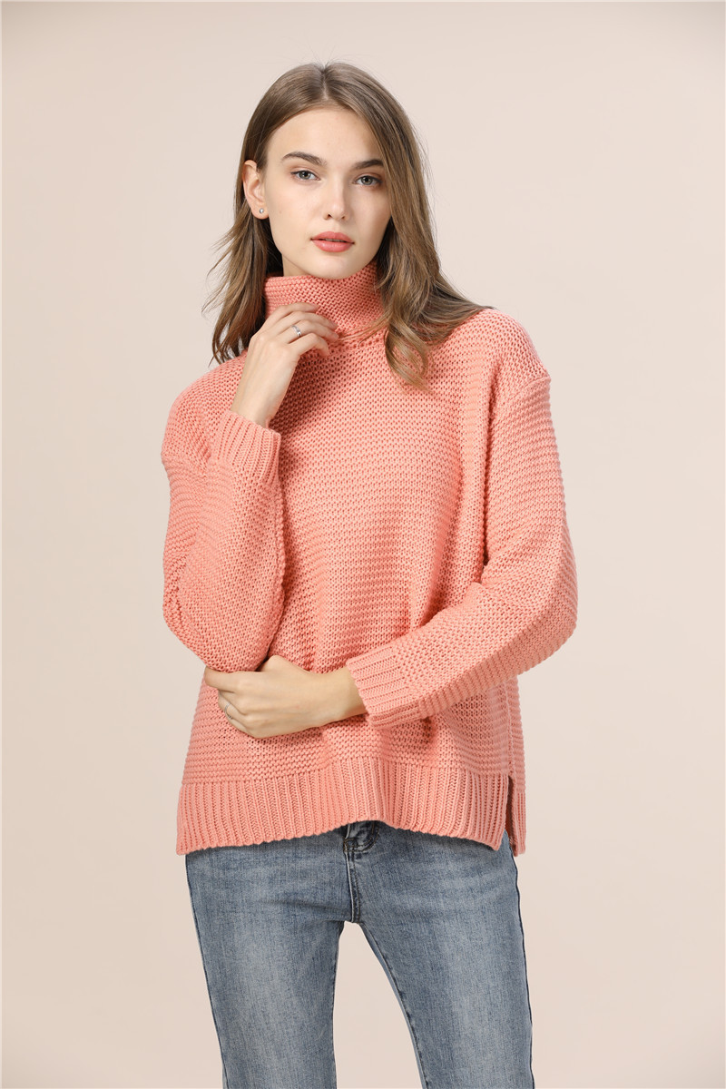 Casual Loose Autumn Winter Turtleneck Sweater Women Oversize Solid Knitted Sweaters Warm Long Sleeve Pullover Sweater Black Pink 5