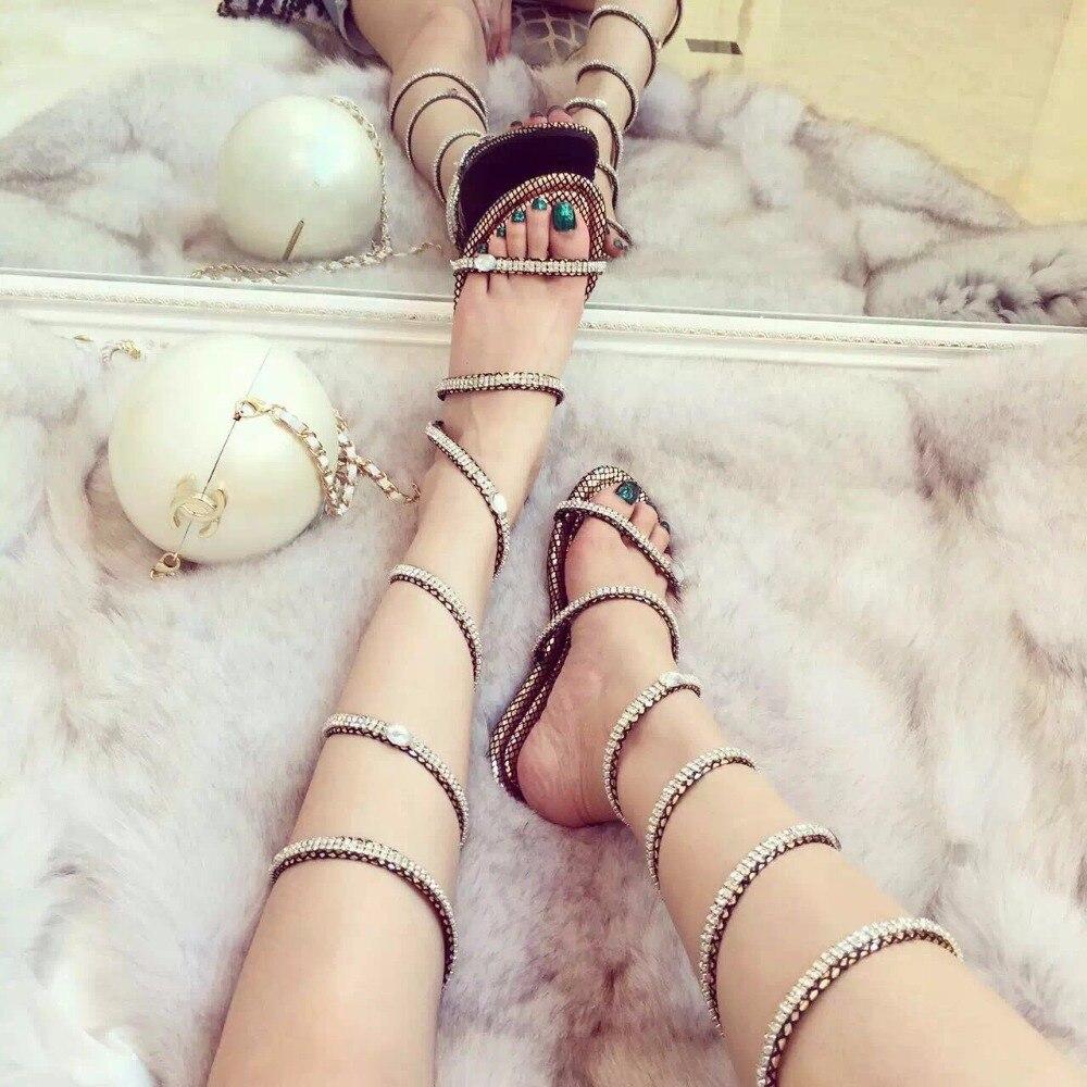 und Strap Sandalen Snake SilberGoldSchwarzSilber Frauen Mode Damen NetGold Schwarz Sommer Open Stiefel Schuhe Net Toe Party Gladiator Kristall Sexy Flache pMSzVU